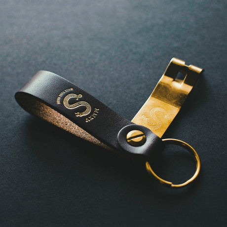 Anniversary Edition Bottle Opener // Stout Leather + Brass (Foil Embossed)
