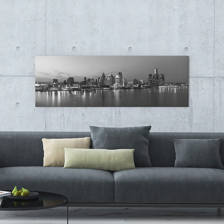 Detroit Panoramic Skyline Cityscape // Evening