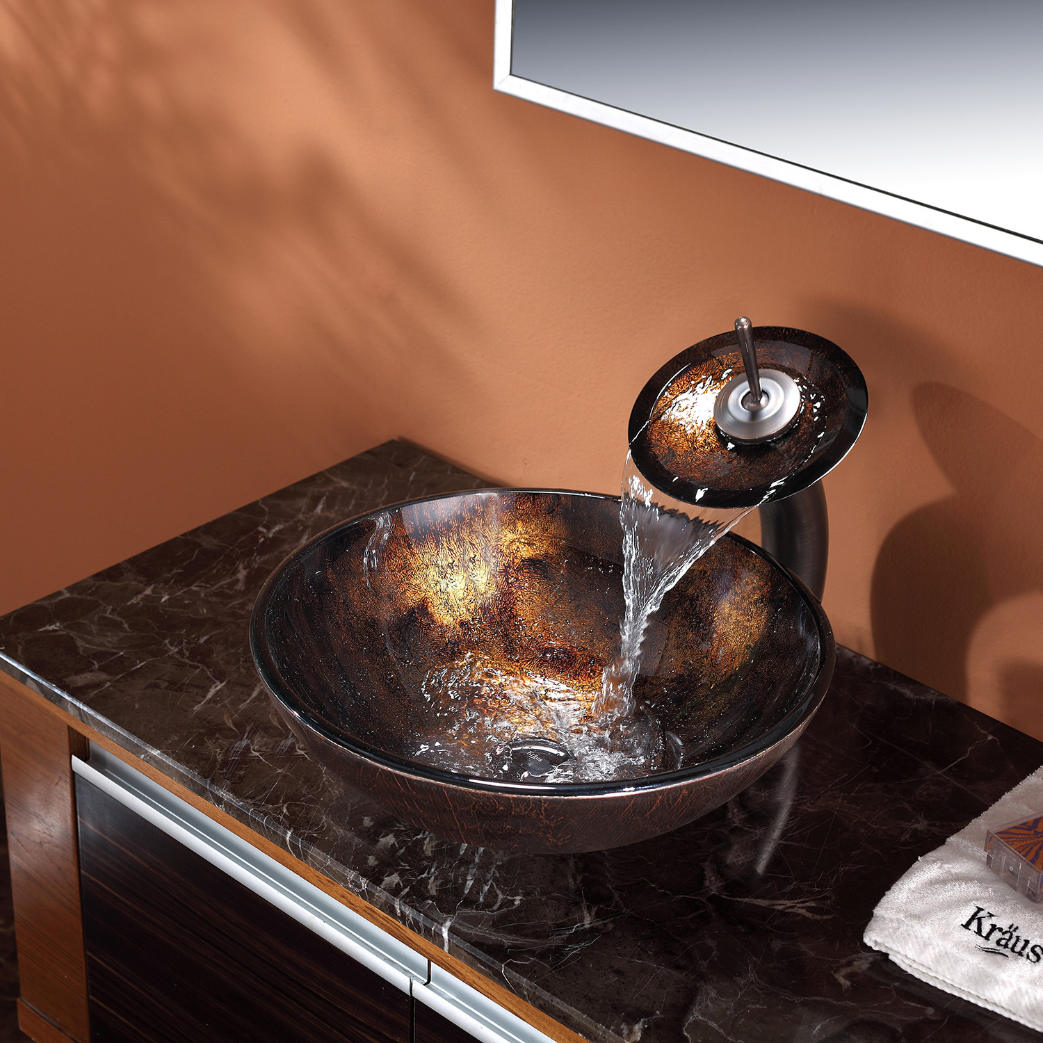 Great Kraus Pluto Glass Vessel Sink + Waterfall Faucet (Chrome)