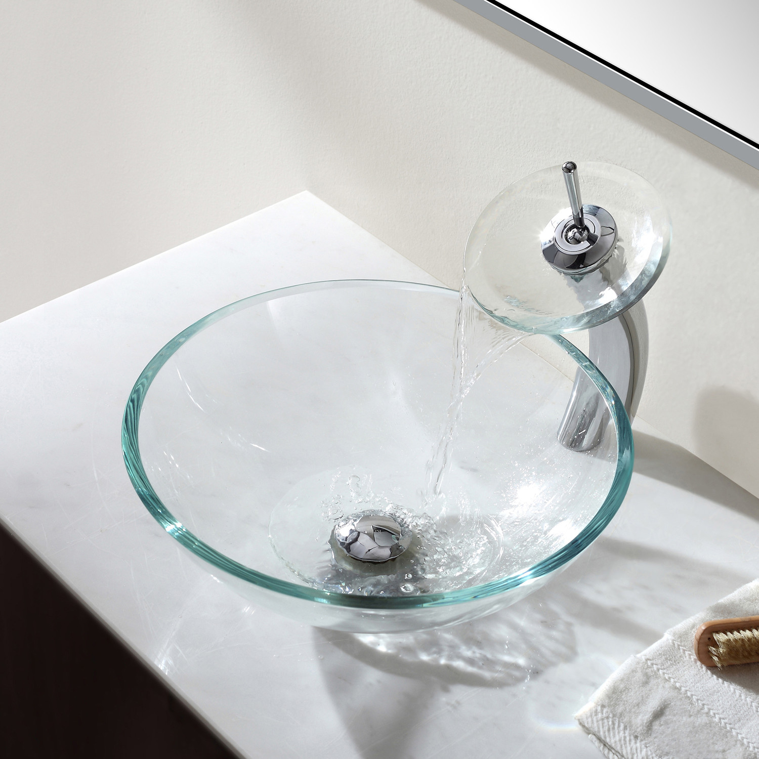 Crystal clear glass vessel sink waterfall faucet chrome kraus touch of modern - Waterfall faucet for sink ...