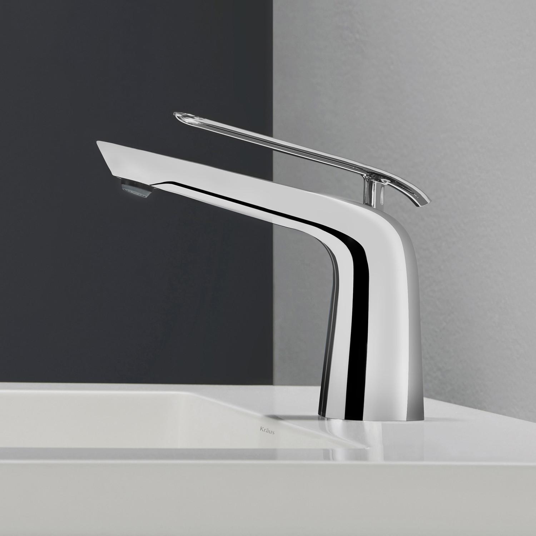 Seda single lever basin bathroom faucet chrome kraus for Chrome or brushed nickel kitchen faucet