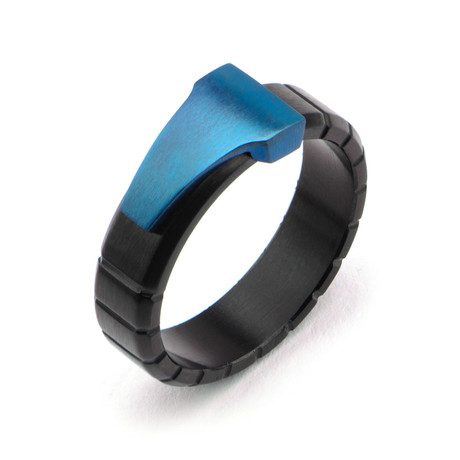 Stainless Steel Triangle Groove Line Ring // Blue + Black