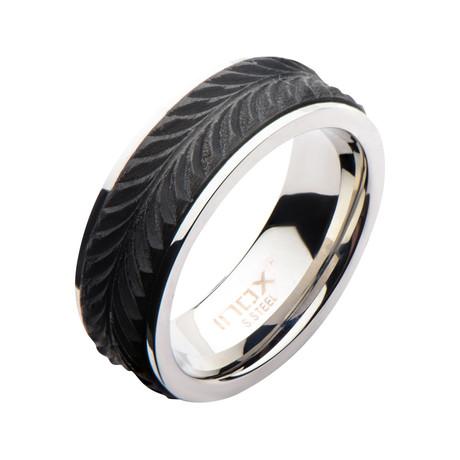 Stainless Steel + Solid Carbon Fiber Leaf Patterned Ring