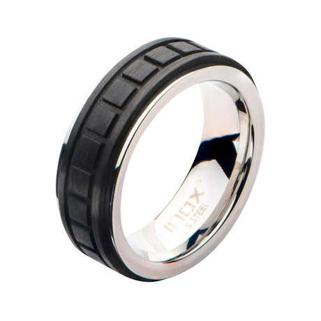 Stainless Steel + Solid Carbon Fiber Square Ring // Black (Size: 9)
