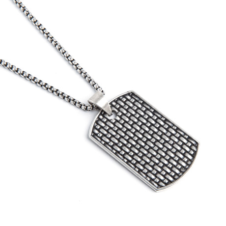 Textured Dog Tag Necklace