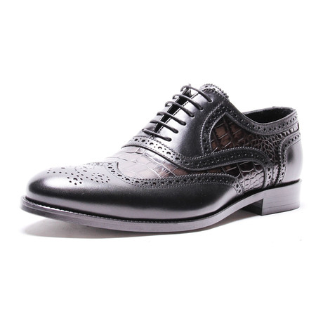Double Layer Brogue Oxford // Anthracite