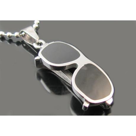 Beaded Chain Necklace + Sunglasses Pendant