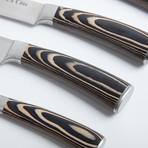 Pakkawood Knife Set + Oak Wood Block // 6 Pieces