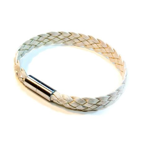 Sonoma Flat Braided Leather // Metallic Pearl