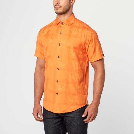 Joel Short Sleeve Jacquard Button-Up // Orange