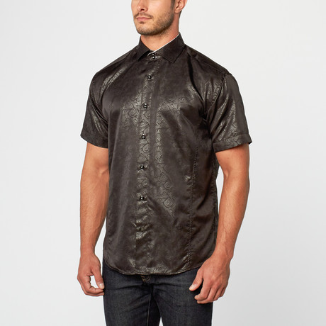 Edwin Short Sleeve Printed Sateen Button-Up // Black