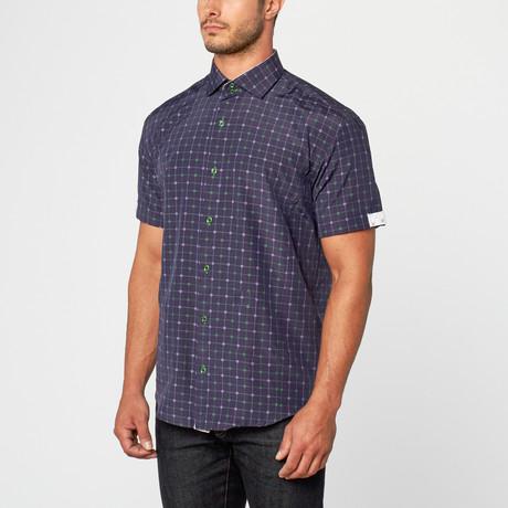 Randall Short Sleeve Jacquard Button-Up // Navy