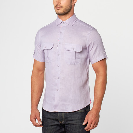 Mario Short Sleeve Linen Button-Up // Purple