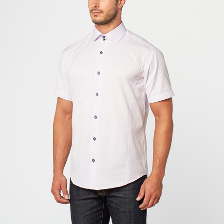 Bespoke // Bernard Short Sleeve Jacquard Button-Up // Lilac (XS)