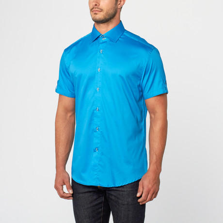 Marcus Short Sleeve Sateen Button-Up // Turquoise