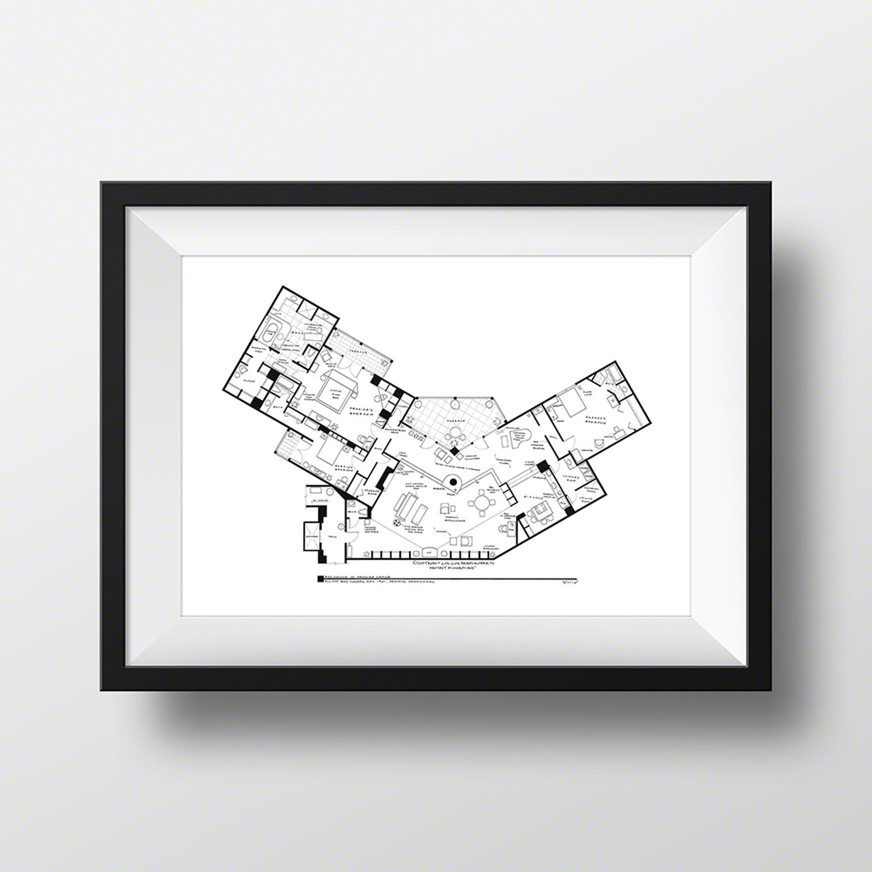 Frasier Crane Apartment Artist Signed Fantasy Floorplans Touch Of Modern