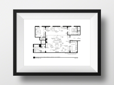 """Photo of Fantasy Floorplansâ""""¢ Blueprints of Fictional Spaces How I Met Your Mother // Ted Mosby Apartment // Artist Signed (Black) by Touch Of Modern"""
