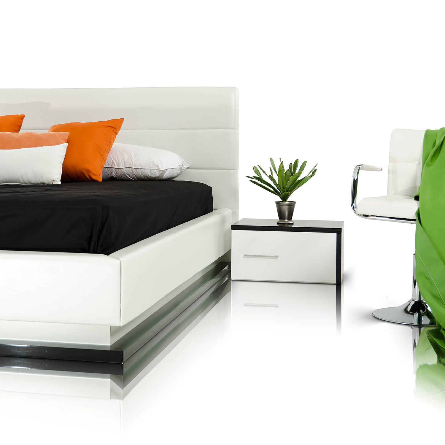 Modrest infinity contemporary white black bedroom set for All black bedroom furniture