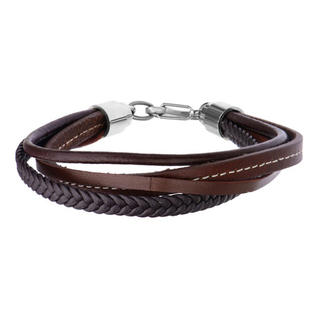 Leather Braided Layered Bracelet // Brown
