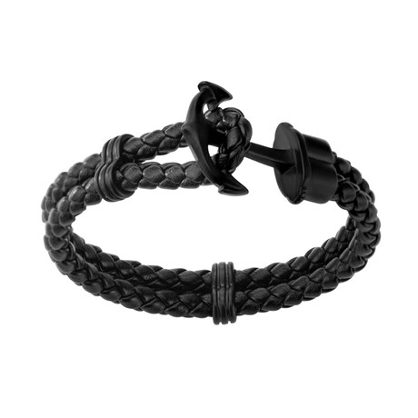 Braided Leather Anchor Bracelet // Black