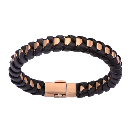 Matte Finish Leather Thread Bracelet // Brown + Rose Gold