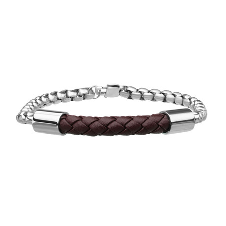 Braided Leather Bracelet // Double Rolo Chain (Brown)