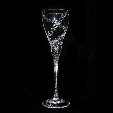 Leaf Design Crystal Glass