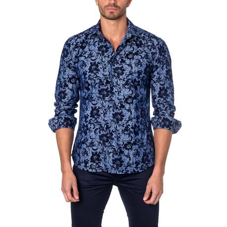 Painted Flower Button-Up Shirt // Blue