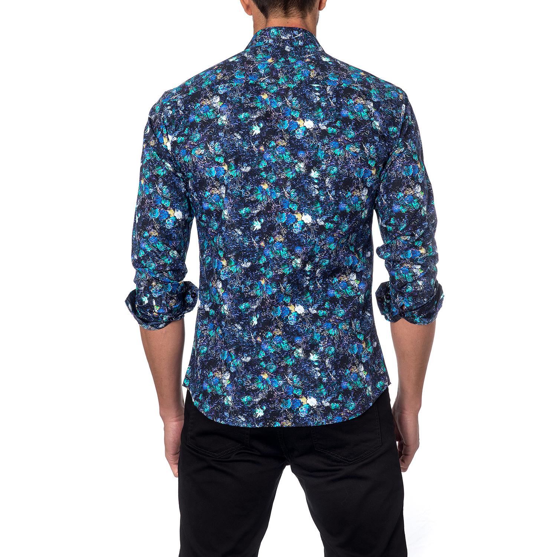 Cotton balls button up shirt blue s jared lang for Cotton button up shirt