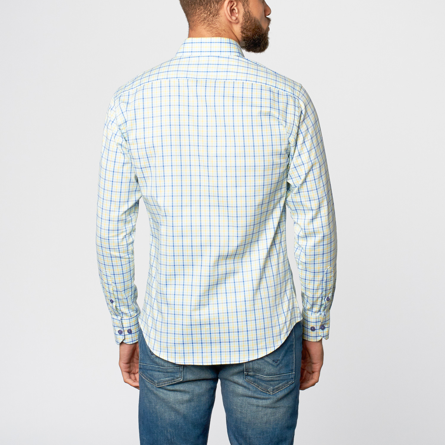 Check dress shirt blue yellow s slim fit shirting for Blue check dress shirt