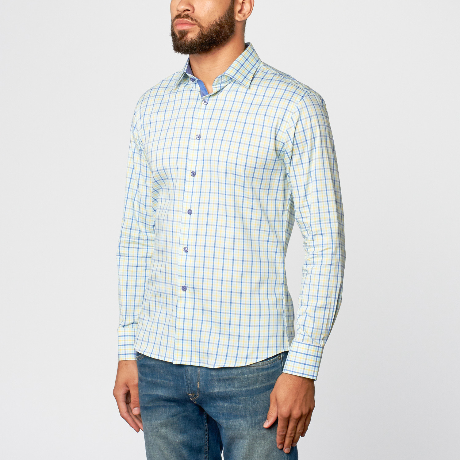 Check dress shirt blue yellow l clearance button for Blue check dress shirt