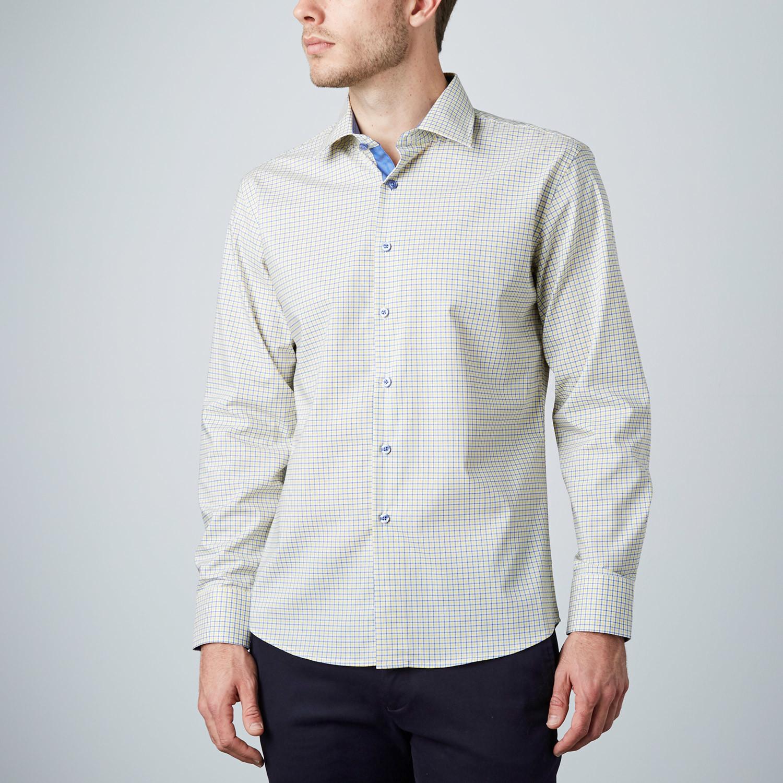 Check dress shirt blue yellow s modern fit shirts for Modern fit dress shirt