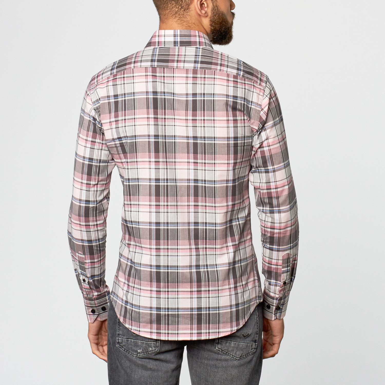 Plaid dress shirt pink s slim fit shirting touch for Pink checkered dress shirt