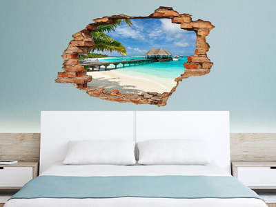 Photo of Ambiance Live 3D Wall Decals Beach, Palm And Bungalow View by Touch Of Modern