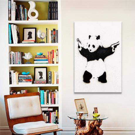 "Panda With Guns // Unknown Artist (18""W x 26""H x 0.75""D)"