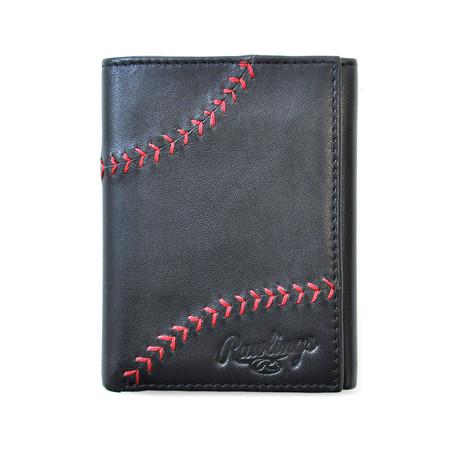 Baseball Stitch Trifold Wallet // Black