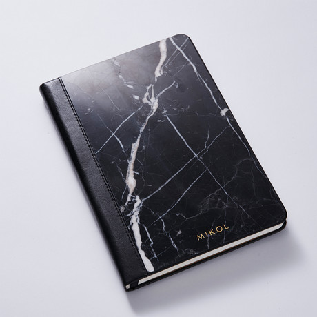 Marble + Leather Notebook // Nero Marquina