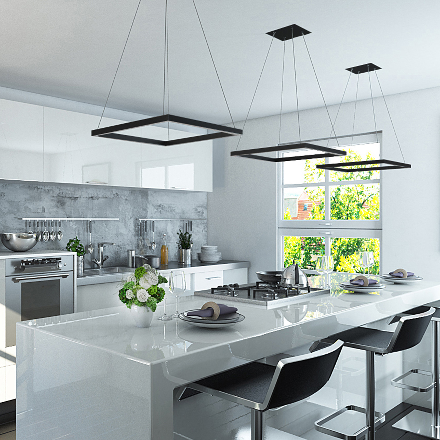Atria // Square Chandelier // Black - VONN - Touch of Modern