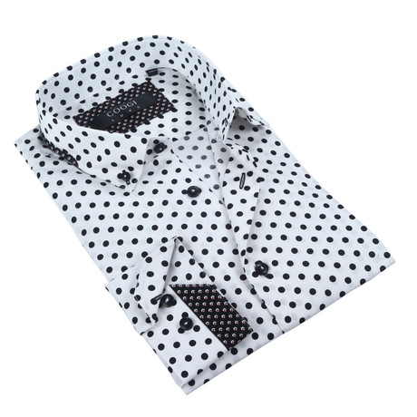 Solid Button-Up // White + Black Dot