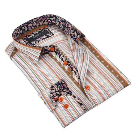 Classic Button-Up + Paisley Trim // Light Brown + Orange Stripe