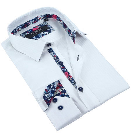Solid Button-Up + Floral Trim // White