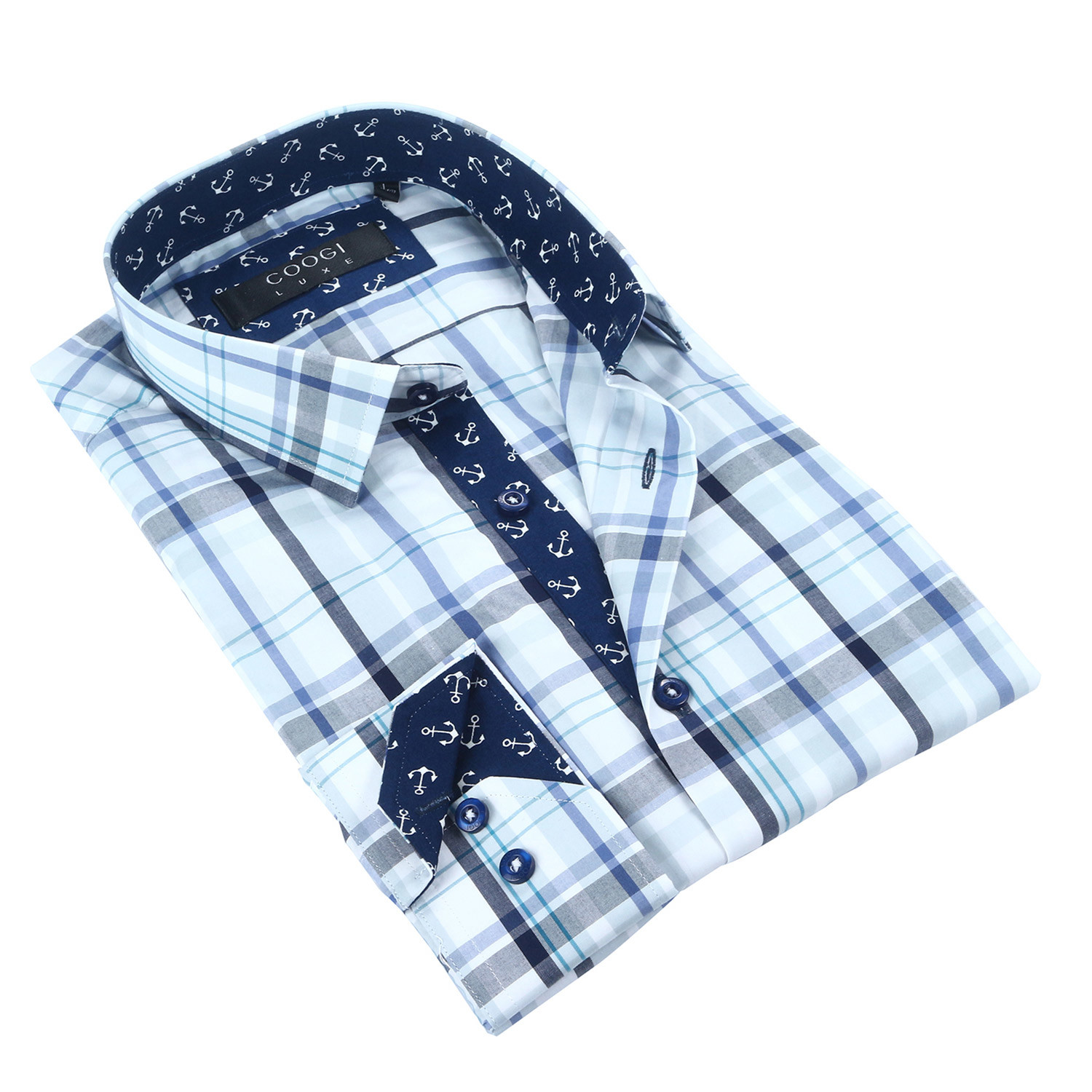 plaid anchor trim button up navy white s coogi. Black Bedroom Furniture Sets. Home Design Ideas