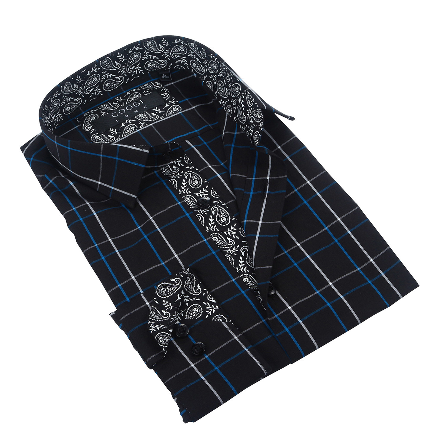 plaid paisley trim button up black s coogi touch. Black Bedroom Furniture Sets. Home Design Ideas