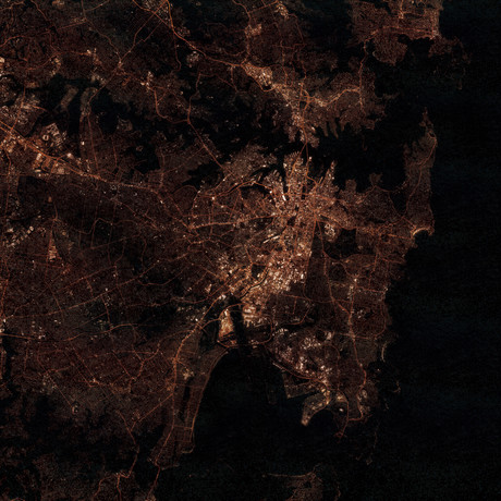 Sydney, Australia at Night (Unframed // 12W x 12H)