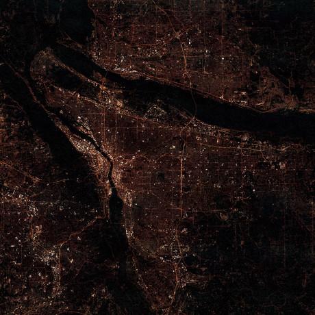 Portland, OR at Night (Unframed // 12″W x 12″H)