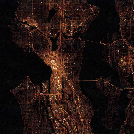 Seattle, WA at Night (Unframed // 12″W x 12″H)