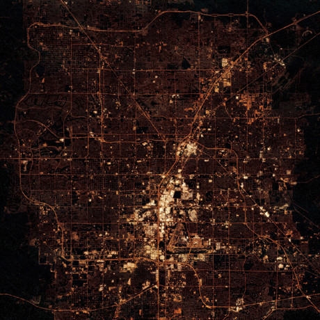 Las Vegas, NV at Night (Unframed // 12″W x 12″H)