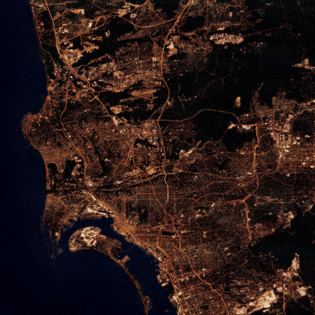 San Diego, CA at Night (Unframed // 12″W x 12″H)