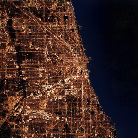 Chicago, IL at Night (Unframed // 12W x 12H)