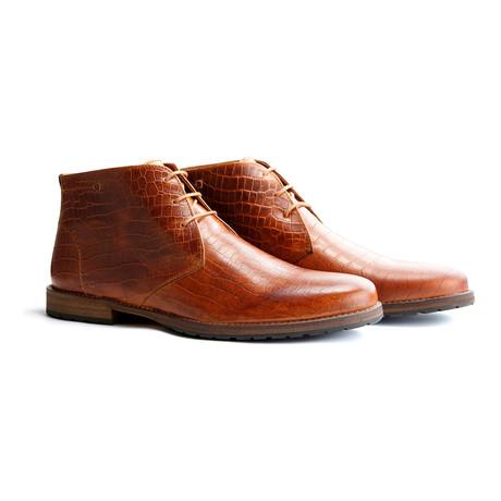 Liverpool Crocodile Ankle Boot // Cognac